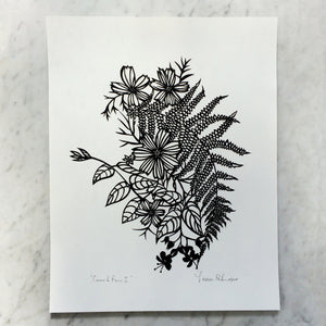 Cosmos & Ferns I | Original Papercut