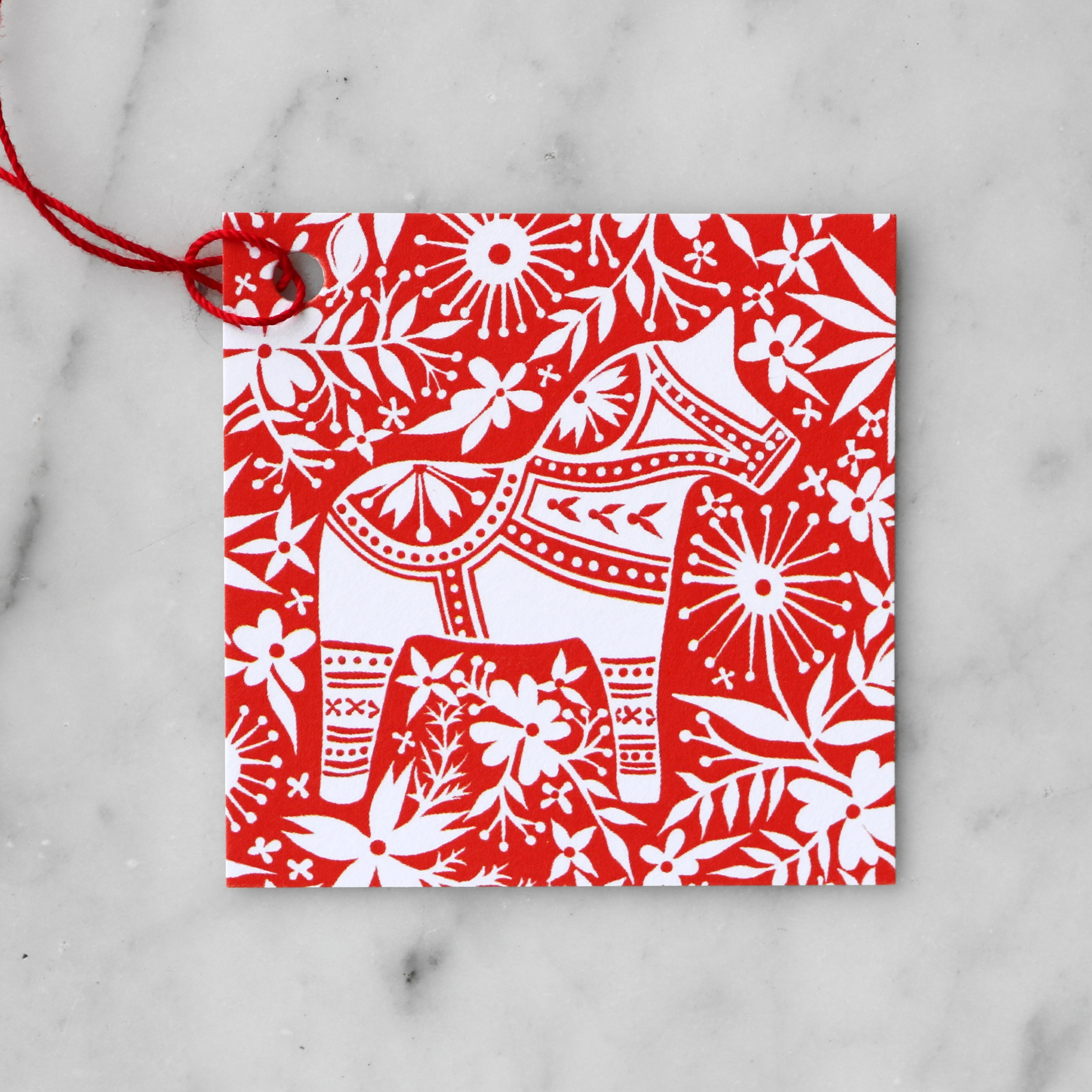 Red and White Floral Dala Horse | Blank Gift Tag Set