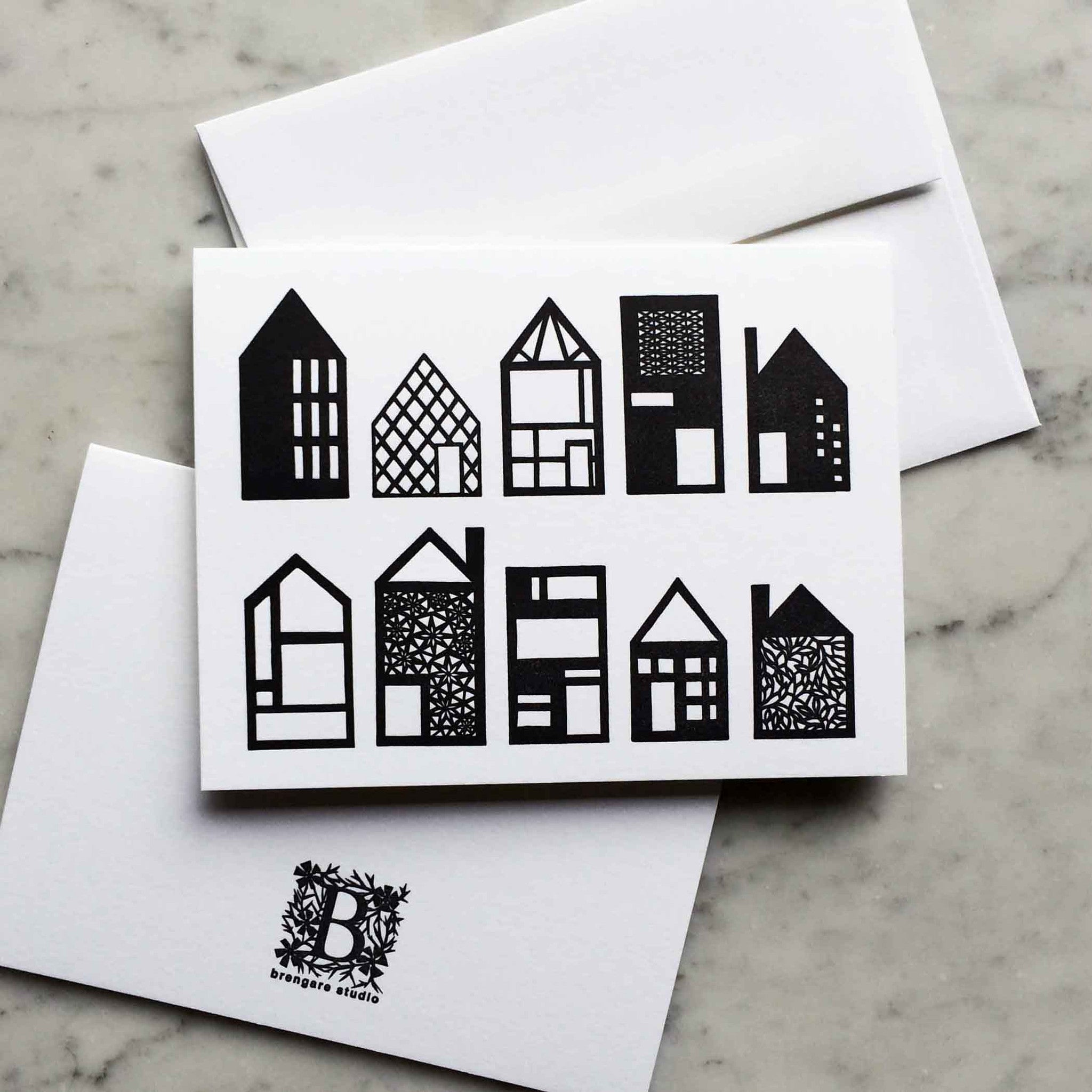 Paper houses blank letterpress greeting card brengare studio paper houses blank letterpress greeting card m4hsunfo