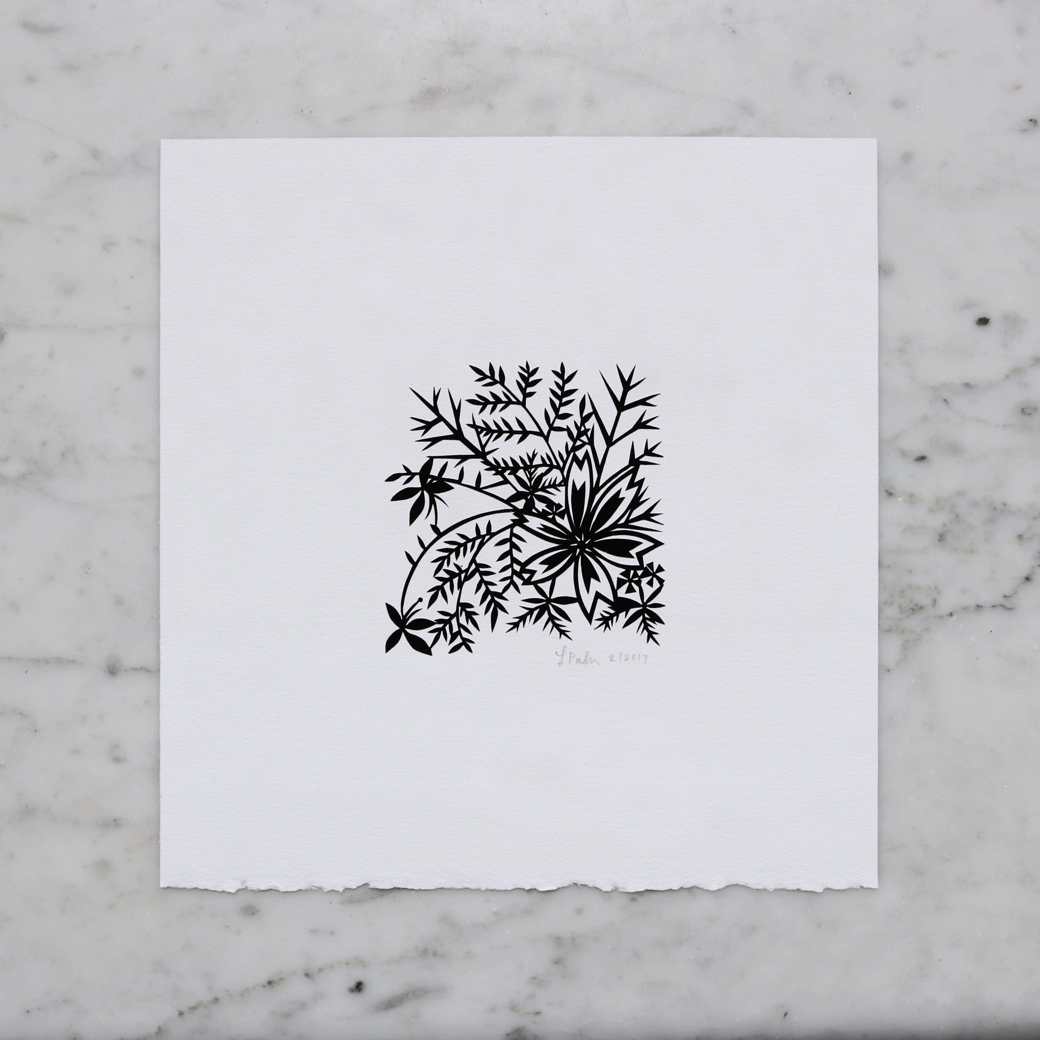 Black and White Floral | Original Papercut Artwork