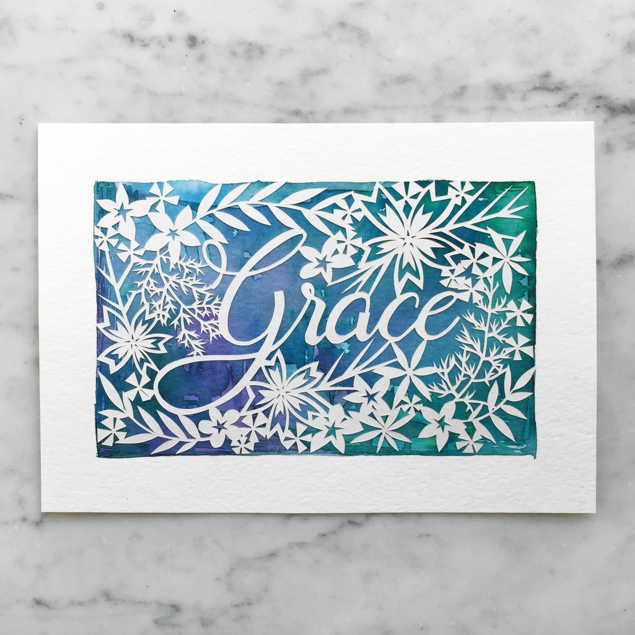 Personalized Papercut with Watercolor Background
