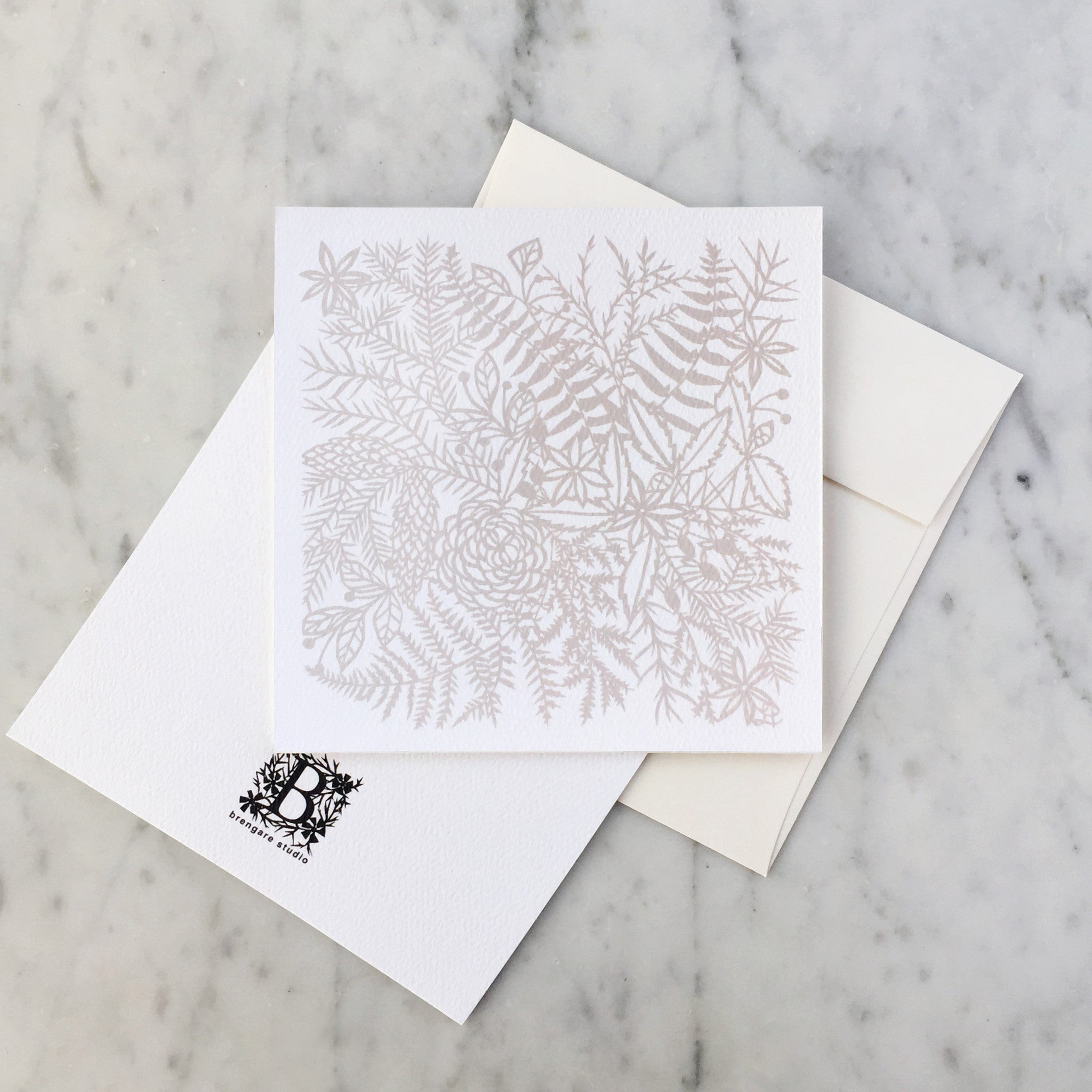 Winter Lace Blank Greeting Card Brengare Studio