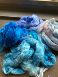 Hand dyed Bamboo Grab Bags 100g blue shades