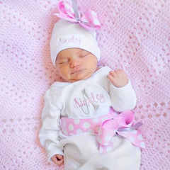Personalized Newborn Girl Take Home Sets - Baby's First Outfit