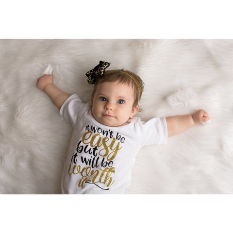 Worth the Wait Newborn Girls Outfit in Black and Gold Glitter - Jennifer Noel Designs