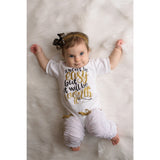 Worth the Wait Newborn Girls Outfit in Black and Gold Glitter