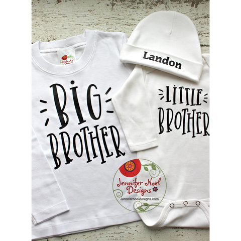 Big Brother Little Brother shirt set, take home outfit, with hospital beanie hat