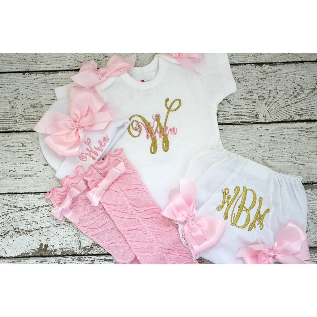 Pink and Gold Newborn Girls Take home set with hat, bloomers, legwarmers - Jennifer Noel Designs