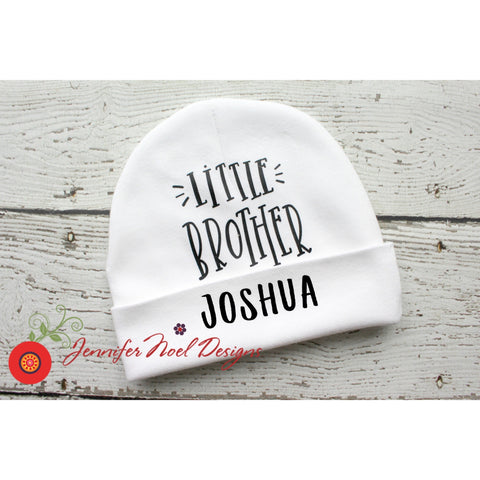 Little Brother Personalized newborn hat by Jennifer Noel Designs