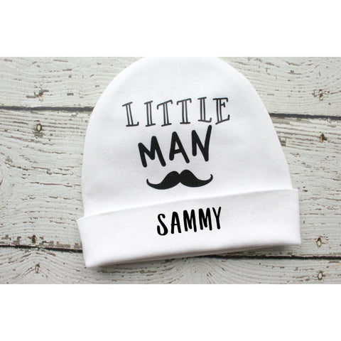 little man personalized baby hat by Jennifer Noel designs