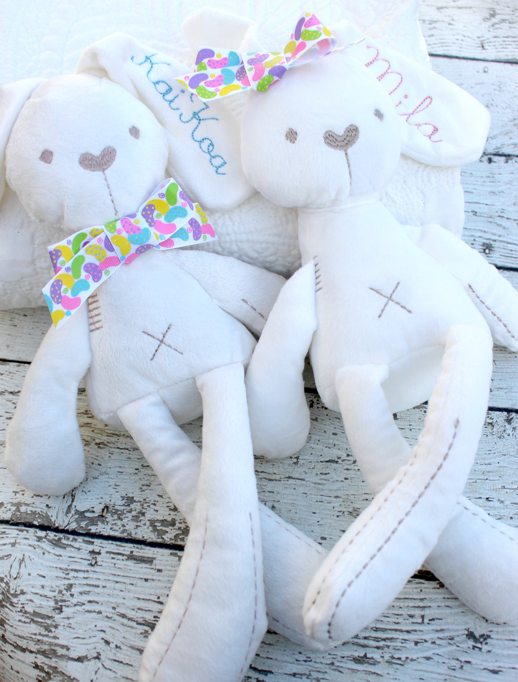 Personalized Easter Bunny, Plush Bunny with Embroidered Name girls & boys - Jennifer Noel Designs