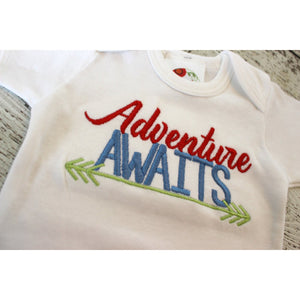 Take home outfit for boys, Newborn gown, Adventure Awaits, Baby Shower Gift, coming home outfit, Newborn Photo Prop, hospital outfit - Jennifer Noel Designs