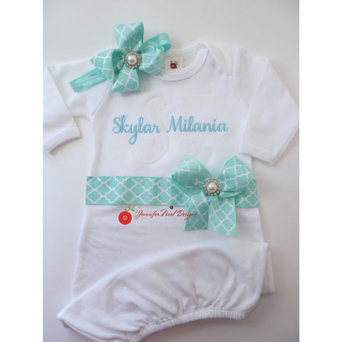 Take home outfit baby girl, personalized Coming Home Outfit, Teal aqua, baby name gown, baby shower gift, personalized monogrammed gown - Jennifer Noel Designs