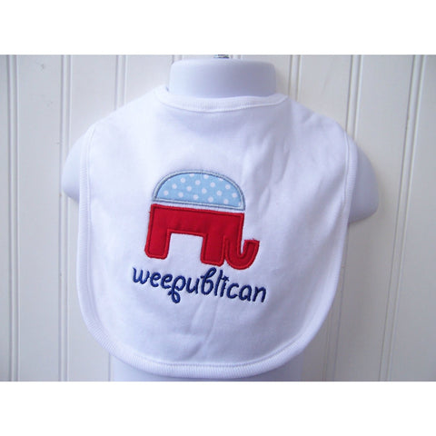 JenniferNoelDesigns.com Jennifer Noel Designs Take Home Outfit stocking onepiece Republican President Politics pink grey onepiece Newborn Baby Gift Mothers Day Feeding Democrat Custom Bib Children Baby Boy Bib Baby Bib Baby