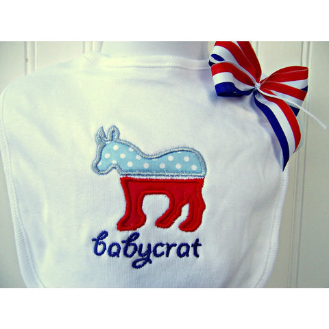 Jennifer Noel Designs JenniferNoelDesigns.com Clothing Take Home Outfit Republican President Politics Newborn Baby Gift Mothers Day Feeding Democrat Custom Bib Children Baby Girl Bib Baby Bib Baby