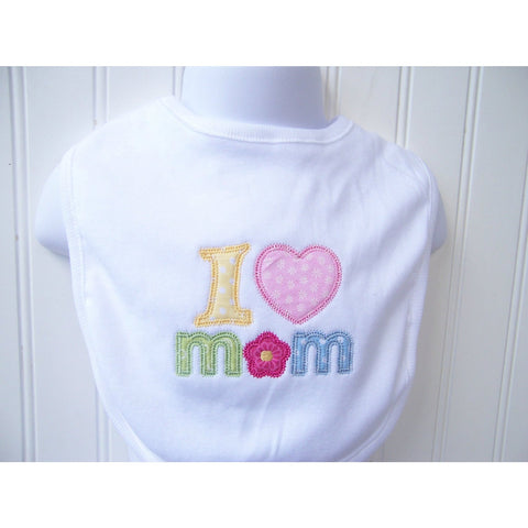 Jennifer Noel Designs JenniferNoelDesigns.com Take Home Outfit Personalized Mom Newborn Baby Gift New Mom Mothers Day Bib Mothers Day Love Mom Hearts Heart Mom Girls Bib Flowers Feeding Children Baby Bib Baby