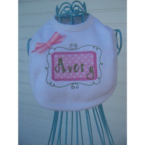Jennifer Noel Designs JenniferNoelDesigns.com Clothing Take Home Outfit Strawberry Strawberries Personalized Girls Personalized Bib Pastels Organic Bib Newborn Baby Gift Girls Bib Girls Accessories Feeding Custom Bib Children Baby Layette Baby Bib Baby