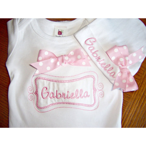 Jennifer Noel Designs Take Home Outfit Preemie Clothing Personalized Girls Personalized Hat onepiece bodysuit Newborn Layette Monogrammed Baby Infant Gown Home From Hospital girls pink gown Girls Monogrammed Girls Coming Home Coming Home Outfit Clothing Children Baby
