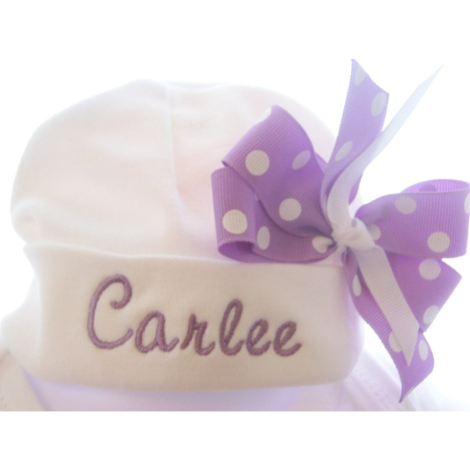 Personalized Infant Hat with name and bow, newborn baby girls hat - Jennifer Noel Designs