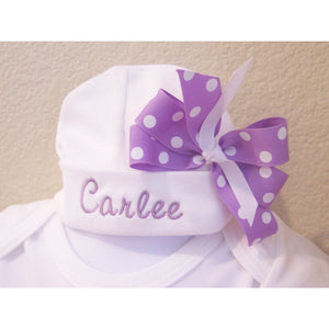 Personalized Infant Hat with bow, personalized newborn hat, monogrammed baby hat, girls hat - Jennifer Noel Designs