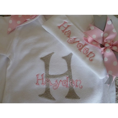 Jennifer Noel Designs JenniferNoelDesigns.com personalized girls take home outfit personalized baby onepiece bodysuit newborn hospital set newborn girl monogrammed baby hospital hat girl take home coming home outfit Clothing Children baby name gown baby layette gown baby girls layette baby gifts Baby