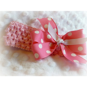 Pink Headband with polka dot bow - Jennifer Noel Designs