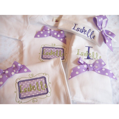 Jennifer Noel Designs JenniferNoelDesigns.com personalized girls take home outfit Preemie clothing personalized baby personalized hat onepiece bodysuit newborn girl monogrammed baby girl take home coming home outfit Clothing Children baby name gown baby layette gown baby girls layette baby gifts Baby
