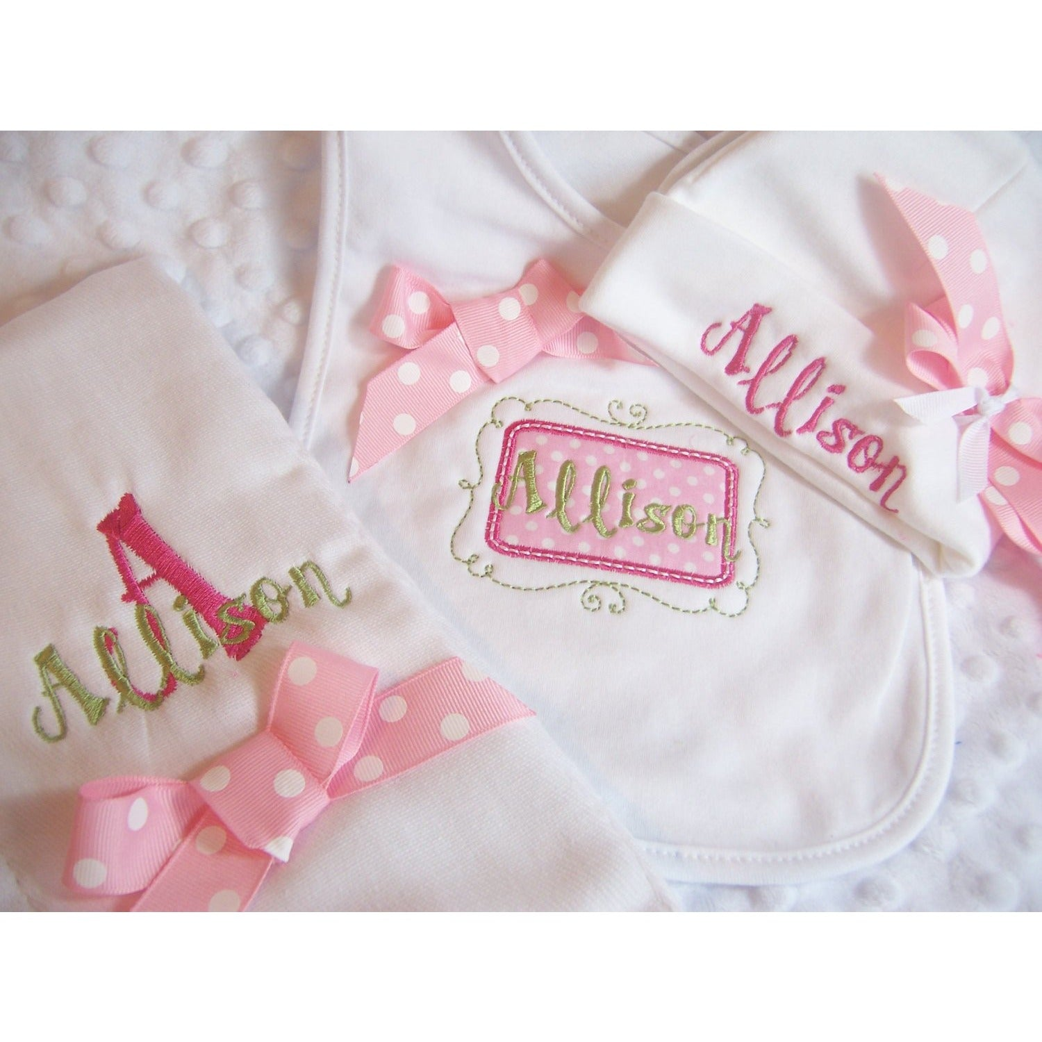 Personalized Girls Newborn Gift Set, Burp, Bib, and Hat, monogrammed in pink and green - Jennifer Noel Designs