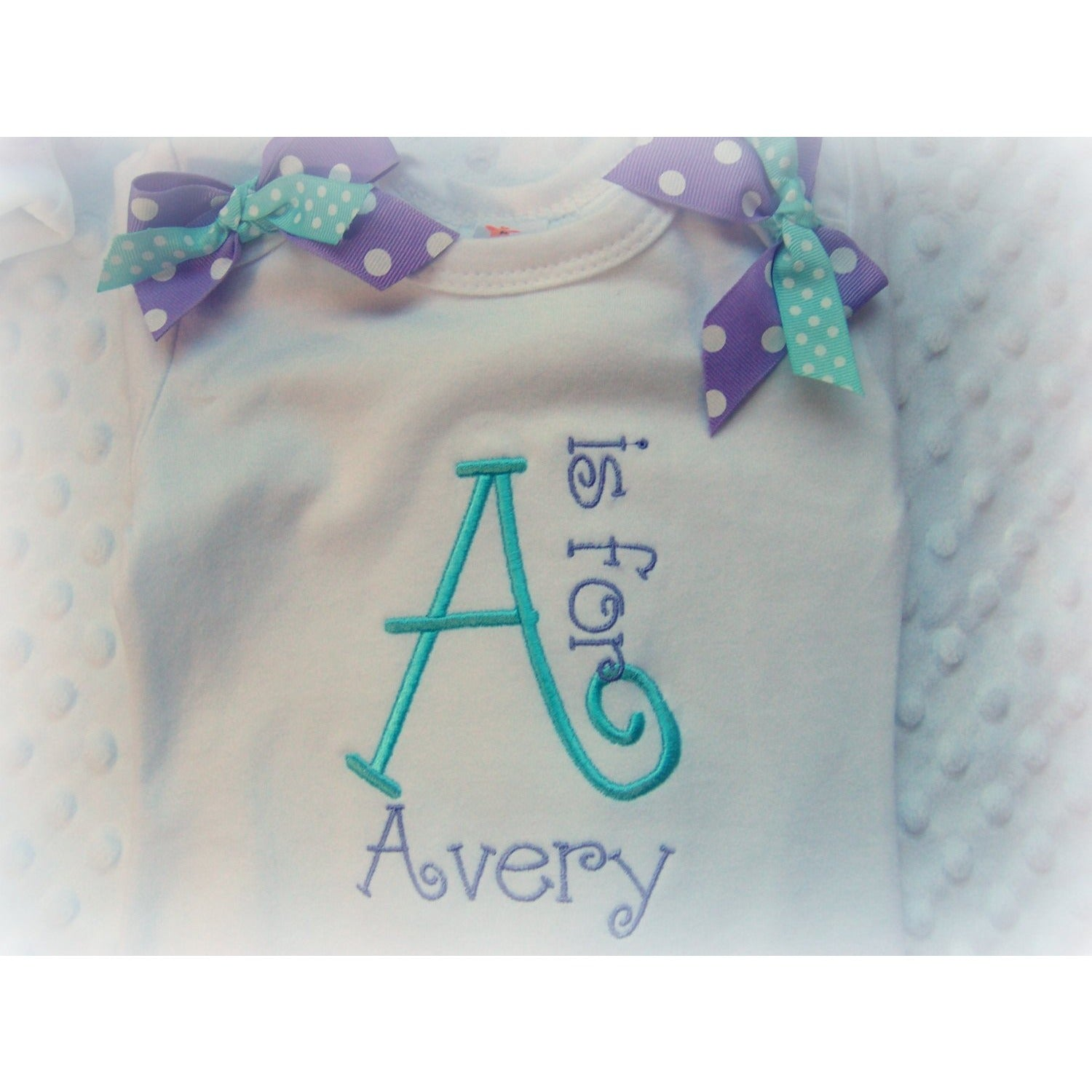 Personalized Baby Girl one piece and Hat Set - Jennifer Noel Designs