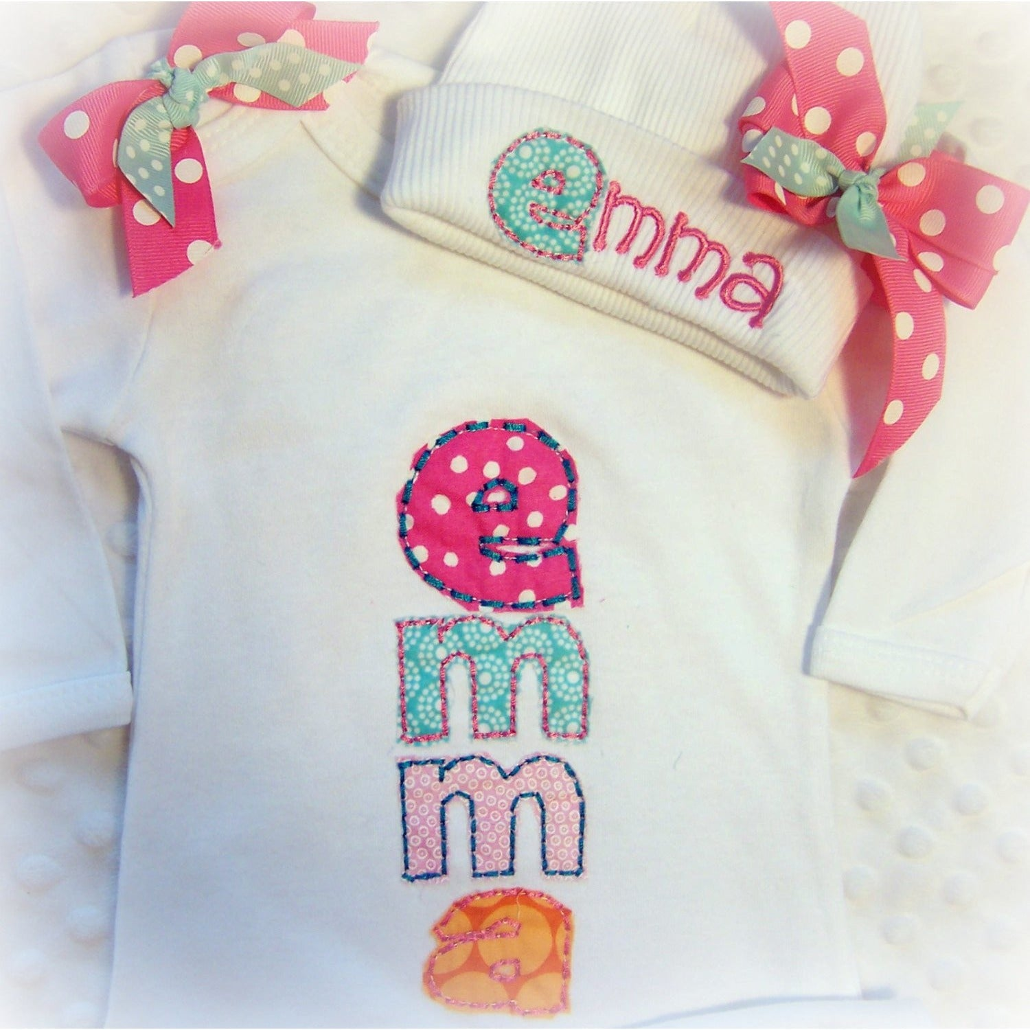 Newborn girl take home outfit, Personalized baby girl coming home Oufit, baby layette gown, and Hat Set, Girls Take Home - Jennifer Noel Designs