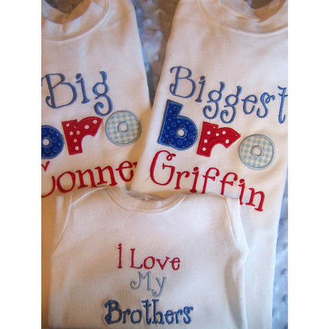 Personalized Set of 3, Sibling Brother Sister  shirts/one pieces big sis, little sis, big bro, little bro, middle child - Jennifer Noel Designs