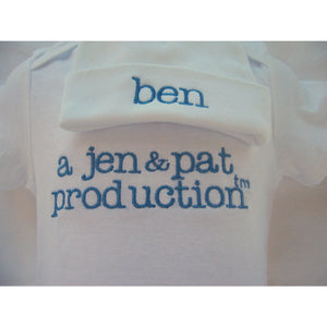 Personalized outfit for boys, newborn beanie, outfit, coming home personalized monogrammed - Jennifer Noel Designs