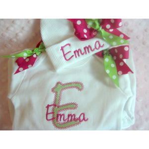 Personalized Baby Girl newborn Layette gown - Jennifer Noel Designs
