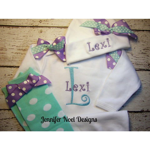 Personalized Take  Home Oufit, Take  Home From Hospital set, Gown, legwarmers and Hat Set, Girls Coming Home Outfit, , - Jennifer Noel Designs