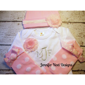 Personalized Take Home Oufit, Take Home From Hospital set, Gown, legwarmers and Headband, and Hat - Jennifer Noel Designs