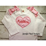 Valentine One piece, girls Valentine T shirt, with attached bows on Shoulders - Jennifer Noel Designs
