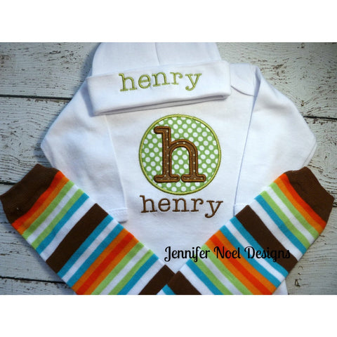 Personalized Newborn Boy Take Home Outfit, Take  Home From Hospital, name gown, leg warmers, Hat Set, newborn photo prop, baby shower gift - Jennifer Noel Designs