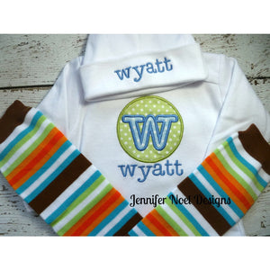 Monogrammed baby clothes, Newborn Boy Outfit - Jennifer Noel Designs