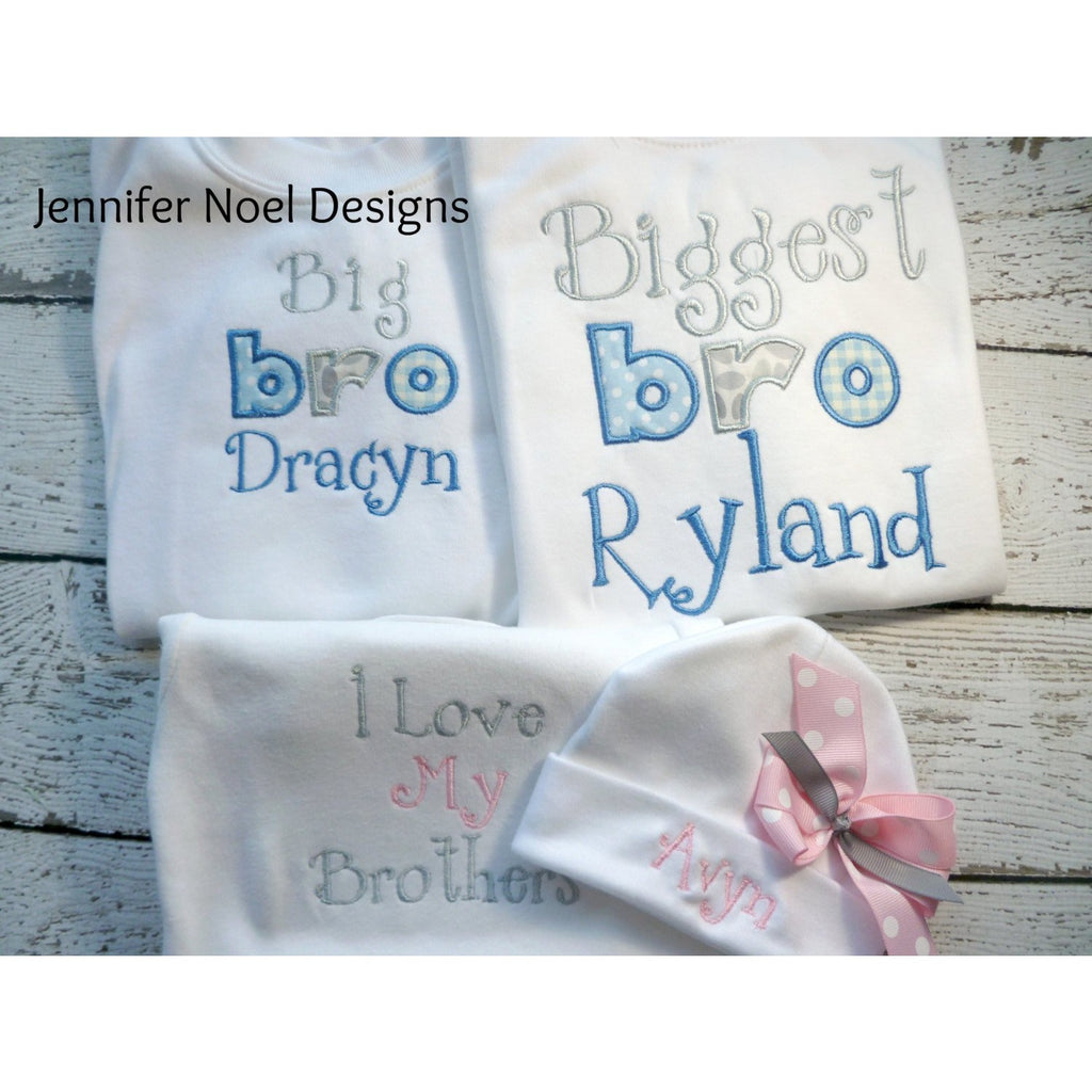 Personalized Set of 3, Sibling Brother Sister shirts/one piece - Jennifer Noel Designs