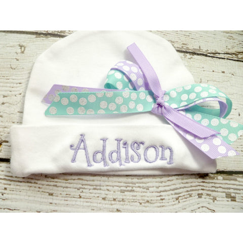 Personalized girls Infant Hat with name and bow in lavender, teal blue, baby girls newborn beanie, personalized newborn beanie, girls beanie - Jennifer Noel Designs