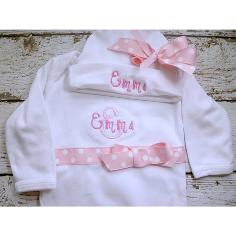 Jennifer Noel Designs Take Home Outfit Preemie Clothes Personalized Girls onepiece ones Newborn Layette Monogrammed Baby Layette Set infant gown fall Home From Hospital Going Home Outfit Girls Monogrammed Girls Coming Home Coming Home Outfit Clothing Children Baby