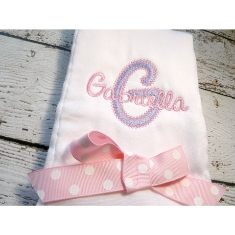 Personalized Monogrammed Burp Cloth,  Personalized Burp Cloth for girls in lavender and pink - Jennifer Noel Designs