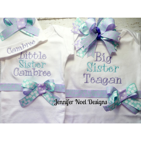 Sibling Newborn Girl Take Home set, personalized baby name gown, baby hospital hat with bow, Big Sister, Little Sister shirt set, aqua - Jennifer Noel Designs
