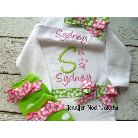 Jennifer Noel Designs JenniferNoelDesigns.com personalized girls take home outfit personalized baby onepiece bodysuit newborn hospital hat newborn girl monogrammed baby little sister outfit girl take home coming home outfit Clothing Children baby name gown baby layette gown baby girls layette baby gifts Baby
