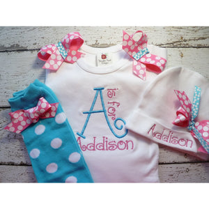 09b7fe19e Newborn girl take home outfit, Personalized baby girl coming home Oufit,  Layette Gown leg