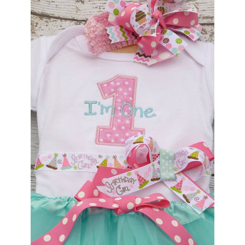Jennifer Noel Designs JenniferNoelDesigns.com Take Home Outfit pink aqua blue Personalized im one shirt i'm one Girls Birthday Shirt first birthday Cupcake Birthday Clothing Children cake smash Birthday Tutu Birthday Shirt birthday pictures birthday onepiece Birthday Number Baby
