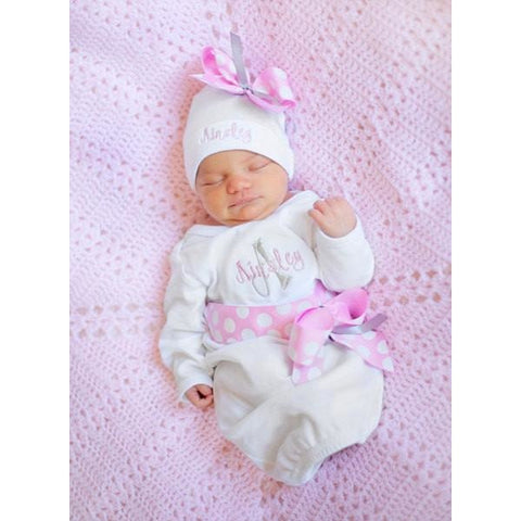Personalized baby girl take home outfit embroidered with pink ribbon jennifer noel designs take home outfit pink grey onepiece personalized baby newborn girl monogrammed baby little negle Gallery