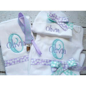 Personalized Coming Home Outfit, Girls Take Home Outfit, Layette name Gown, Beanie Hat Set - Jennifer Noel Designs