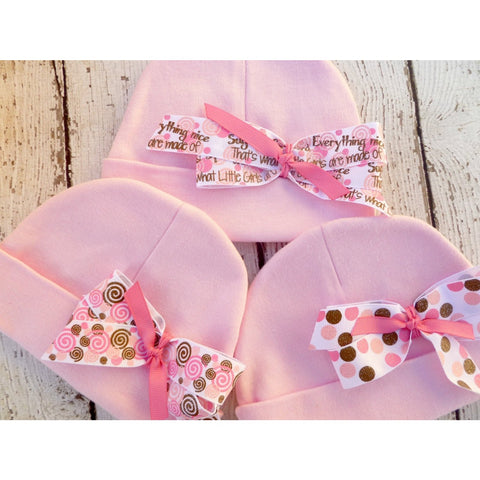 Pink Girls Infant Beanie  Hat, Hospital Hat with bow, take home from hospital hat - Jennifer Noel Designs