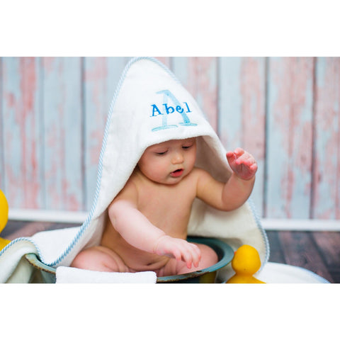 Personalized Infant Hooded Towel and Mitt Set, Monogrammed towel, newborn gift, Baby Bath Towel, Personalized Towel, Mom Gift, Photo Prop - Jennifer Noel Designs